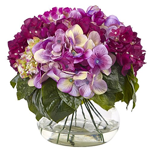 Liquid Arrangement Illusion (Nearly Natural 1364-BU Multi-Tone Beauty Hydrangea with Round Glass Vase)