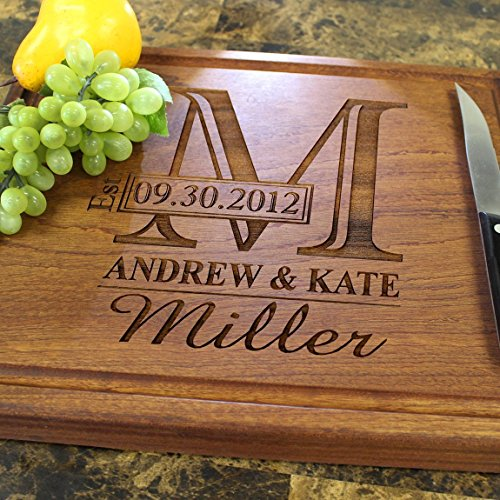 Personalized Chopping Block, 12'x15'~1.75' thick Walnut/Cherry/Sapele, Engraved Butcher Block - Wedding Gift, Anniversary Gift, Housewarming, Birthday. 003