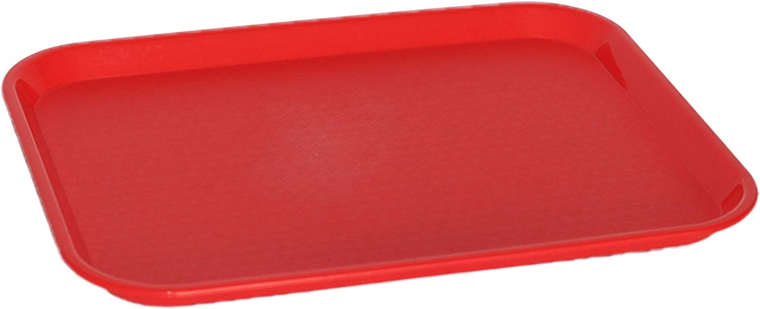 Caspian Plastic 1014 inch Fast Food Serving Tray Rectangular Cafeteria Non-Slip Tray,Set of 12 (Red)