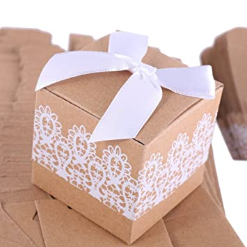 Mannily - 10 cajas de papel para galletas con lazo, color marrón, papel kraft