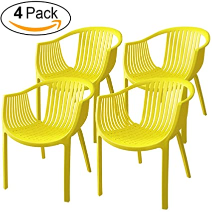Attrayant Amazon.com : ALMI Comodo Chair [Set Of 4] Patio Dining, Colorful Playful  Design Chairs Home Garden, UV Resistant Paint, Indoor U0026 Outdoor, Yellow :  Garden U0026 ...