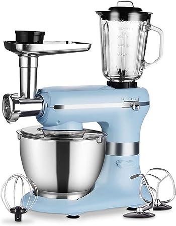 Robot de cocina 3 en 1 de 1200 W, con cuenco de 5 litros de calidad alimentaria, triturador, picadora de carne y batidora, 5 velocidades con función de impulso, color azul claro: Amazon.es: Hogar