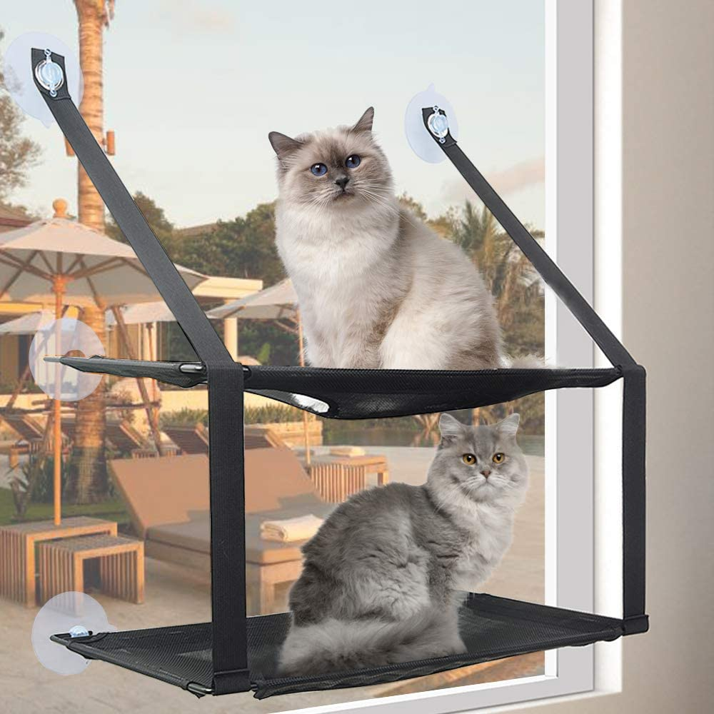 Black Double Layers Cat Hammock Window Seat Bed and Window Perch for Large cat