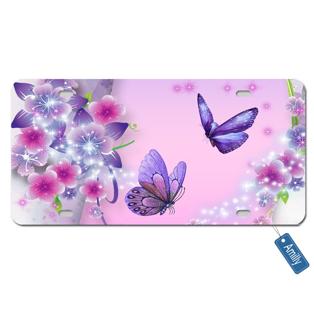 Amilly Personalized Custom Butterfly Pink Backdrop License Plate 6'' x 12''metal License stainless steel License Fun License Plate Fun