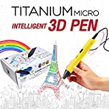 3D Pen for Kids (Yellow), USB 3D Printing Pen Doodle and Drawing 3D Model Compatible with PLA/ABS + 3 Filaments