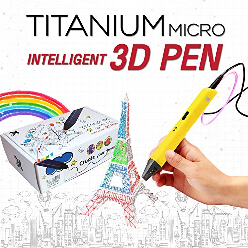 3D Pen for Kids (Yellow), USB 3D Printing Pen Doodle and Drawing 3D Model Compatible with PLA/ABS + 3 Filaments by Titanium Micro