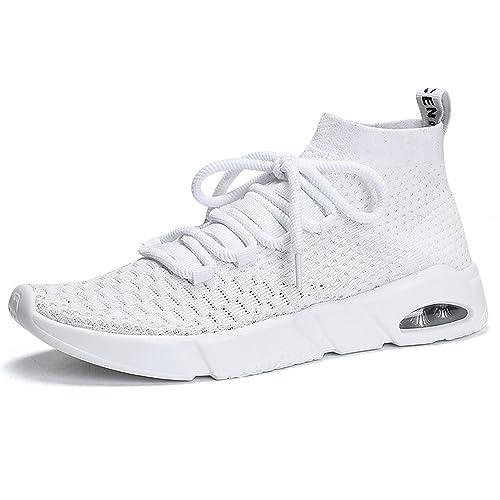 Hombre Deportes Zapatillas de Running Aire Libre Sports Gimnasio Knit Calcetín Slip on Sneakers Alta Air Mujer Ligero Zapatos Negro Gris Rojo Blanco 38-45: ...