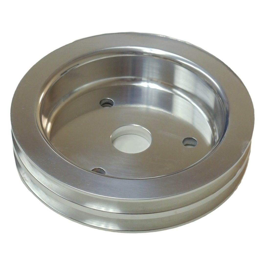 Polished Short Water Pump Pulley/&SBC Chevy Aluminum Crank Pulley Double 2 Groove
