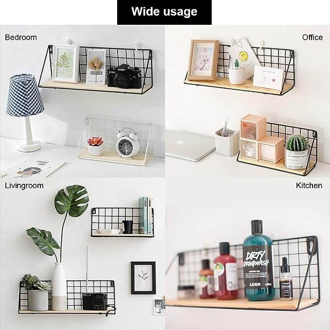 ... juego de 2 estantes de almacenamiento de estante de pared flotante con hierro y madera de almacenamiento Pantalla estantes de flotador de color blanco ...