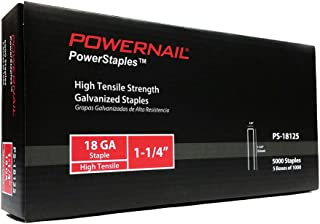 "product image for Powernail 18ga, 1/4"" crown, Chisel Point Narrow Crown Staple. 1-1/4""L. 1 box of 5-1000ct packs."