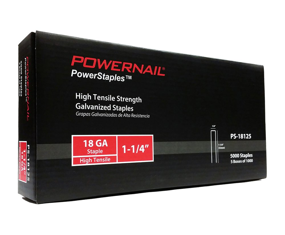 Powernail 18ga, 1/4'' crown, Chisel Point Narrow Crown Staple. 1-1/4''L. 1 box of 5-1000ct packs.