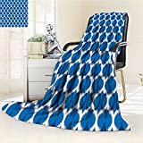 Digital Printing Blanket Wild Round Design Tribal Oriental Islamic Art Dark Blue White Summer Quilt Comforter