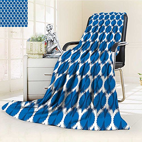 Digital Printing Blanket Wild Round Design Tribal Oriental Islamic Art Dark Blue White Summer Quilt Comforter by AmaPark