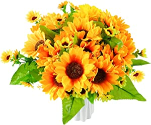 Artificial Fall Silk Sunflowers Bright Yellow Sunflower Bouquets with Stems 4 Bunches/Pack for Home Wedding Decoration Table Centerpieces Garden Craft Decor