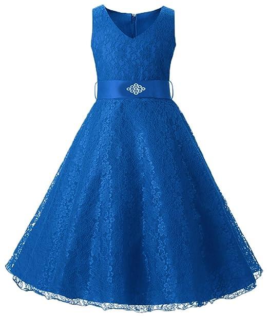 Niña Escote en V Slim Fit Desfile Princesa Vestidos de Novia con Cinturón Azul 1 130
