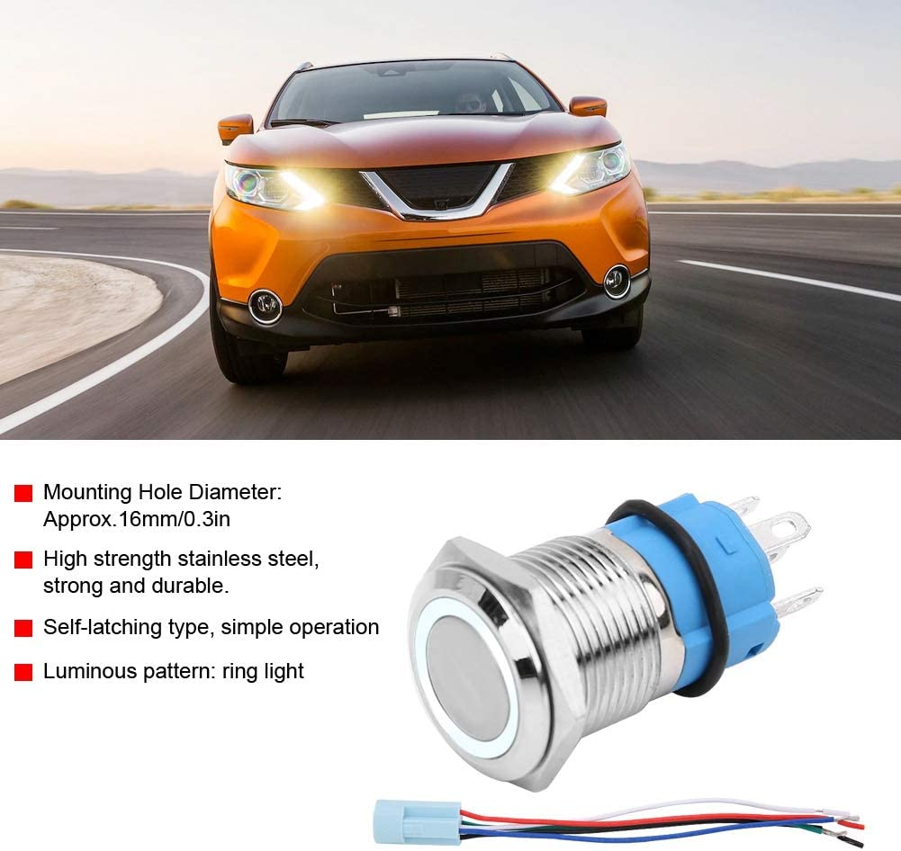 bouton-poussoir autobloquant avec prise 16mm 12V voiture /étanche LED avec verrouillage Aramox Bouton-poussoir jaune