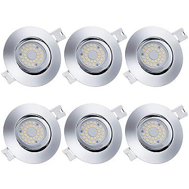 Anpro 6Stk LED Einbaustrahler Flach Dimmbar + Anschlussdose, Einbauleuchten Deckenstrahler Einbauspot 230V 5W LED-Modul 3 Bel