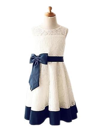 6774fc529 Amazon.com: Fannydress Bows Flower Girls Dresses Size 10-12 Lace Jewel  Satin Girl Pageant Dress For Wedding 2018: Clothing