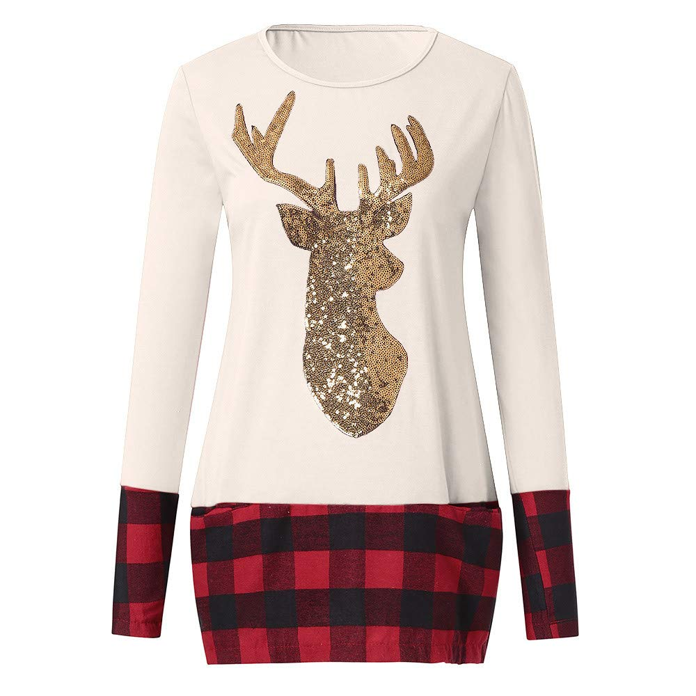 Mumustar Womens Christmas Tops Sweatshirt Plus Size Santa Printed Reindeer Winter Casual Pullover Tops Blouse Clothes