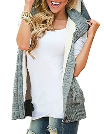 Lovaru Women's Fashion Sleeveless Cable Coat Button Down Hoodie ...