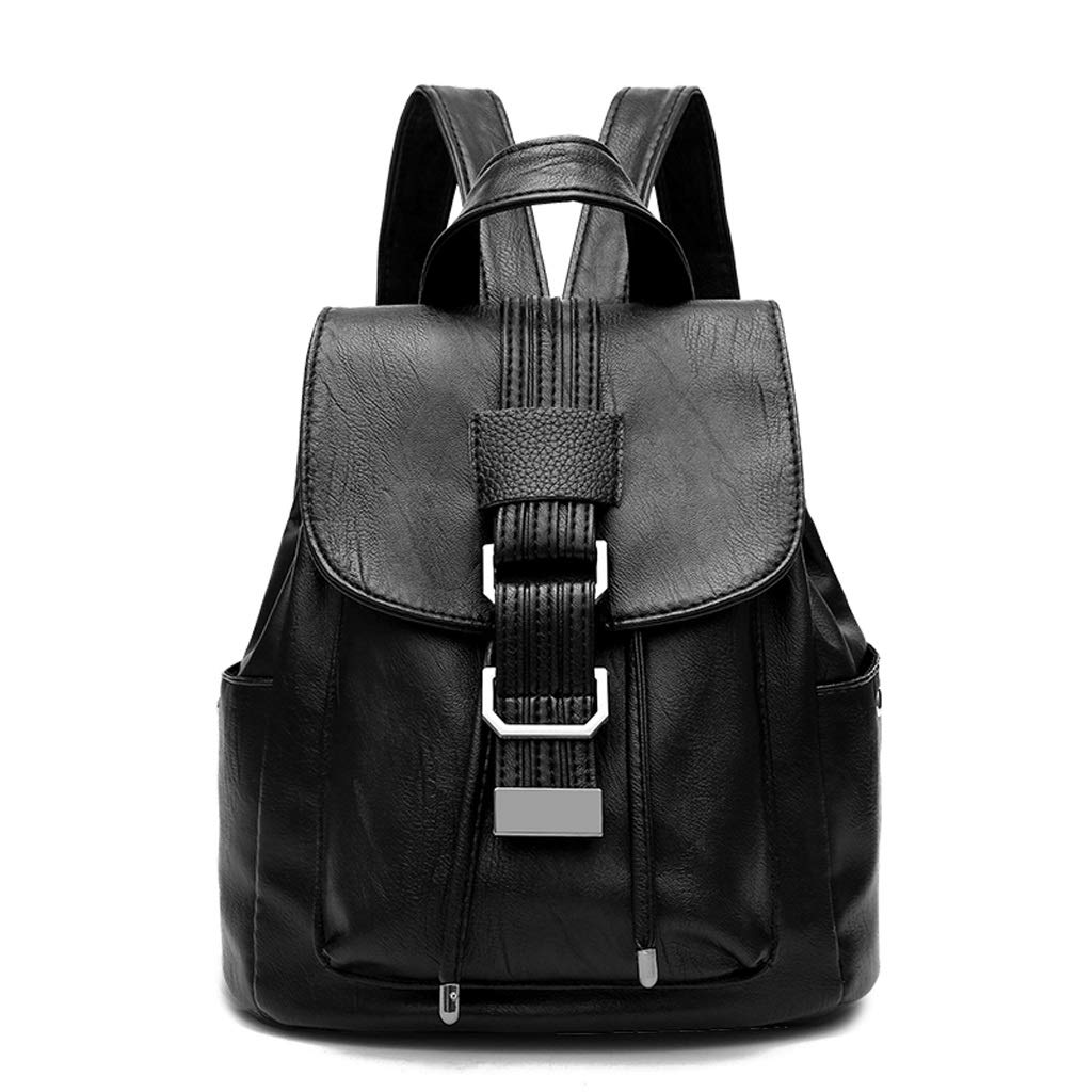 BLACK Backpack Handbag Lady Personality Wild Fashion Trend Travel Bag Student Bag