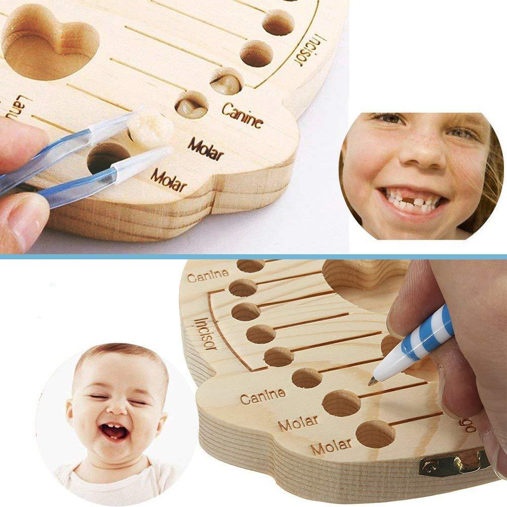 WDOIT Baby Milch Z/ähne Aufbewahrungs box Holz Geburtsurkunde Souvenirbox Zahnk/ästchen Organizer f/ür Kinder Baby Z/ähne Milchz/ähne Box Geschenk(Deutsche Version)