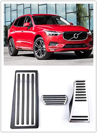 For VOLVO XC60 Accessories 2018-2020 Aluminum Automatic Transmission Non-Slip Metal Rubber Fuel Brake Foot Car Gas Pedal Cover Set Kit 3pcs