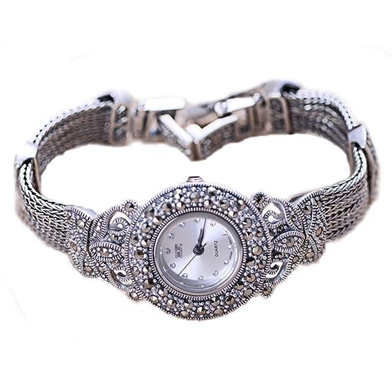 De la Mujer Estilo Vintage con marcasita de plata de ley mujer reloj de pulsera: Amazon.es: Relojes