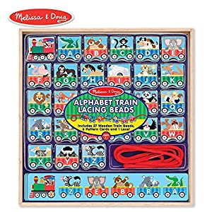 Melissa & Doug Alphabet Train Lacing Beads - 27 Wooden Train Beads, 6 Pattern Cards, and 1 Lace