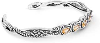 product image for Carolyn Pollack Sterling Silver Multi Gemstone Choice of 4 Five Stone Cuff Bracelet Size S, M or L