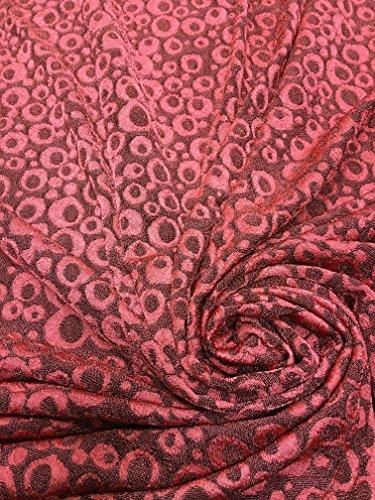 Polyester Acetate Slinky Spandex Fukuro Jacquard Texture Fabric W/Circle Dots (Salmon)