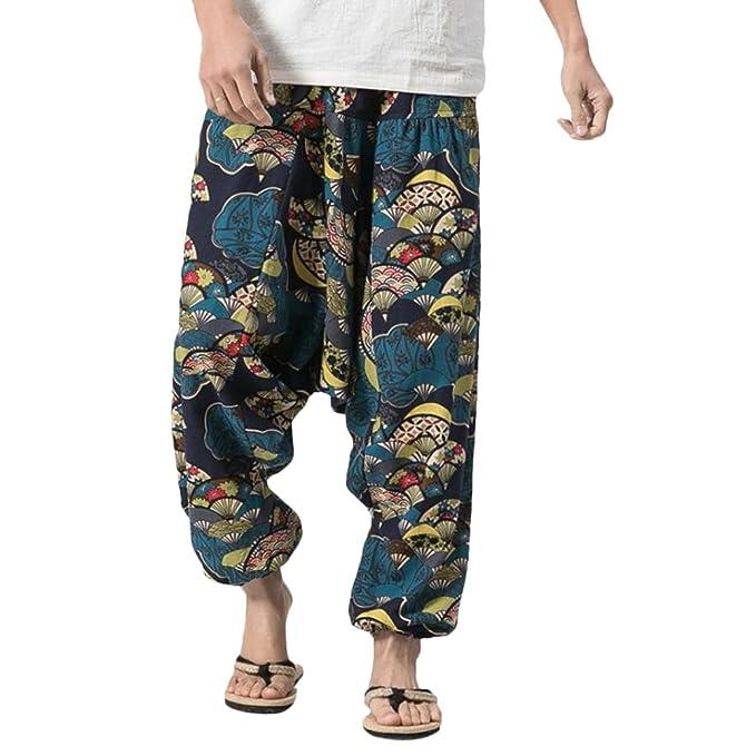 68c385b33f4c Zhhlaixing Pantaloni Harem Uomo Pantaloni Hippy Yoga Pantaloni Come Abbigliamento  Alternativo Men s Aladdin Pants Summer Boho