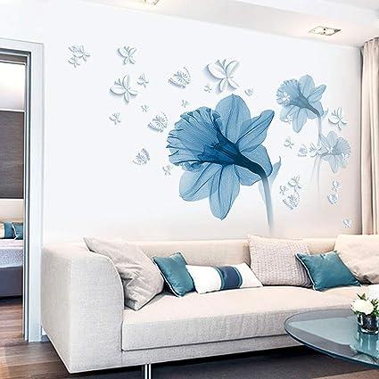 Adesivi Murali Per Camera Da Letto.Pdrui Adesivi Murali Per Camera Da Letto Fiore Blu Adesivo Da