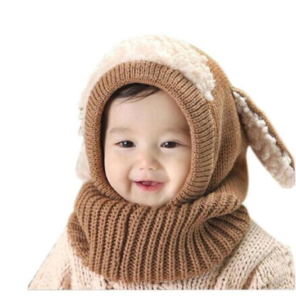 Ularma Inverno Bambini Delle Ragazze Dei Neonati Caldi Coif Lana Berretti Sciarpe Cappelli Cappuccio