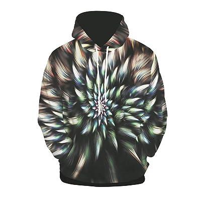 FEDULK Men's Hooded Sweatshirt Autumn Winter 3D Print Pullover Hoodies Coat Long Sleeve Outwear Tops at Men's Clothing store