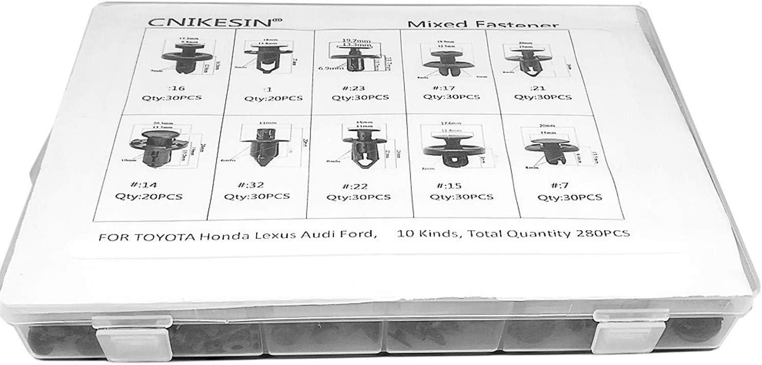 280pc Car Fender Bumper Push Retainer Pin Rivet Trim Clips Nylon Assortments Kit