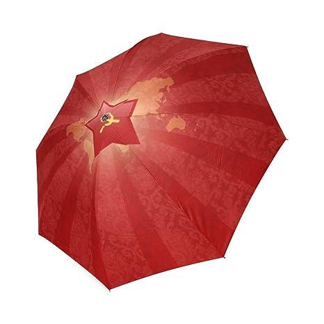 wokfox rojo Comunista símbolo diseño personalizado fresco plegable paraguas de viaje