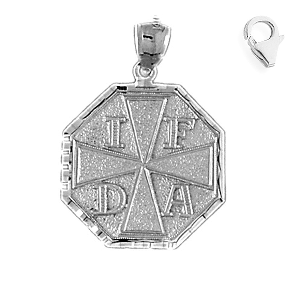 Jewels Obsession Fire Department Pendant Sterling Silver 31mm Fire Department with 7.5 Charm Bracelet