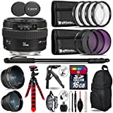 Canon EF 50mm f/1.4 USM Lens 2515A003 + 0.43X Wide Angle Lens + 2.2x Telephoto Lens + UV-CPL-FLD Filters + Macro Filter Kit + 72 Monopod + Table-Top Tripod + 16GB Class 10 - International Version