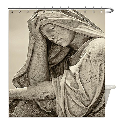 [Liguo88 Custom Waterproof Bathroom Shower Curtain Polyester Sculptures Decor Old Statue of A Suffering Woman with A Vintage Sepia Look Sadness Themed Classic Art Decor Beige Decorative bathroom] (Sadness Costume Ideas)