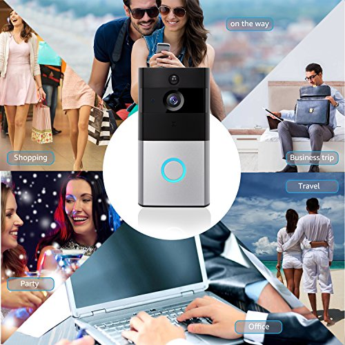 Akpote Video Doorbell,Smart WiFi Camera 720P HD 166ﹾ Lens with 6 LED Night Vision Wireless Visual Doorbell IP55 Real-Time Two-Way Audio PIR Motion Detection, App for iOS and Android with 16G TF Card by Akpote (Image #5)