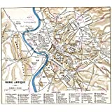 MAP ANTIQUE HISTORIC 1870 ANCIENT ROME CITY PLAN REPLICA POSTER PRINT PAM0915