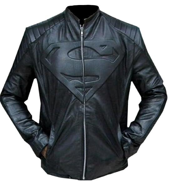 Classyak Moda Hombre de Super Negro con una Chaqueta de Cuero: Amazon.es: Ropa y accesorios