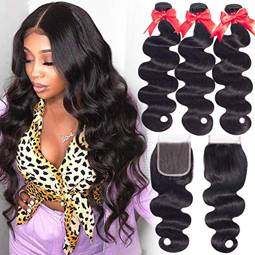 Hermosa Brazilian Hair 3 Bundles with Closure 100% Unprocessed 9A Body Wave Human Hair Bundles with Lace Closure18 20 22+16inch Black Color