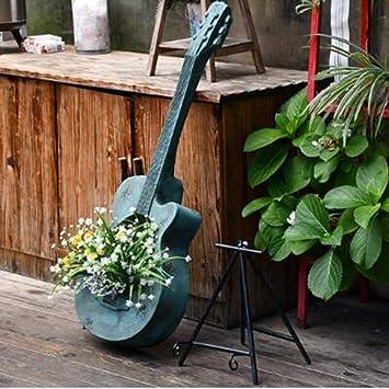 ギターの装飾品ヴィンテージ古いピアノガーデン装飾クリエイティブ屋外バルコニー農家レイアウトガーデニング風景-38 * 30 * 102 cmブルー