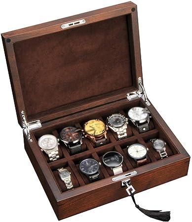 Estuche de almohada para organizador de caja de reloj - Estuches de lujo de 10 ranuras para exhibición con tapa de vidrio enmarcada Cerradura resistente y segura para hombres y mujeres.: Amazon.es: