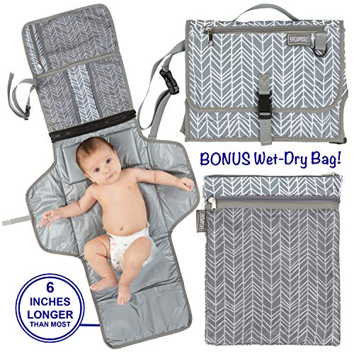 Dry Mat Bag - Portable Changing Pad Extra Large | Baby Changing Pad | Travel Diaper Changing Pad | Foldable Baby Changing Station | Bonus Wet-Dry Bag | Portable Changing Mat | Long XL | Cushioned Waterproof Pad