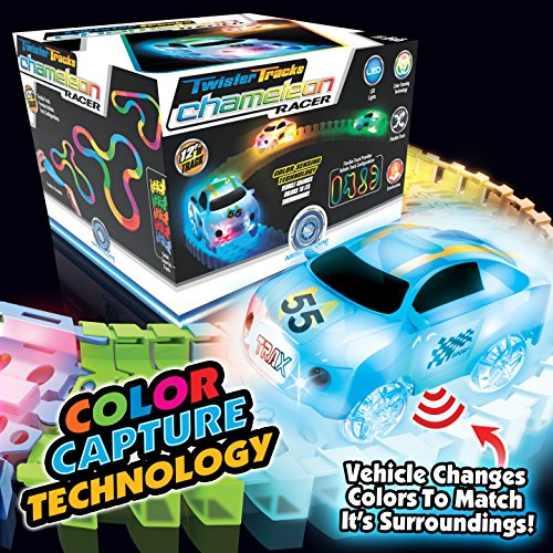 Mindscope Twister Tracks Chameleon Color Capture (Color Sensing/Detecting) Racer with 12' Feet of Flexible Transparent Color Track