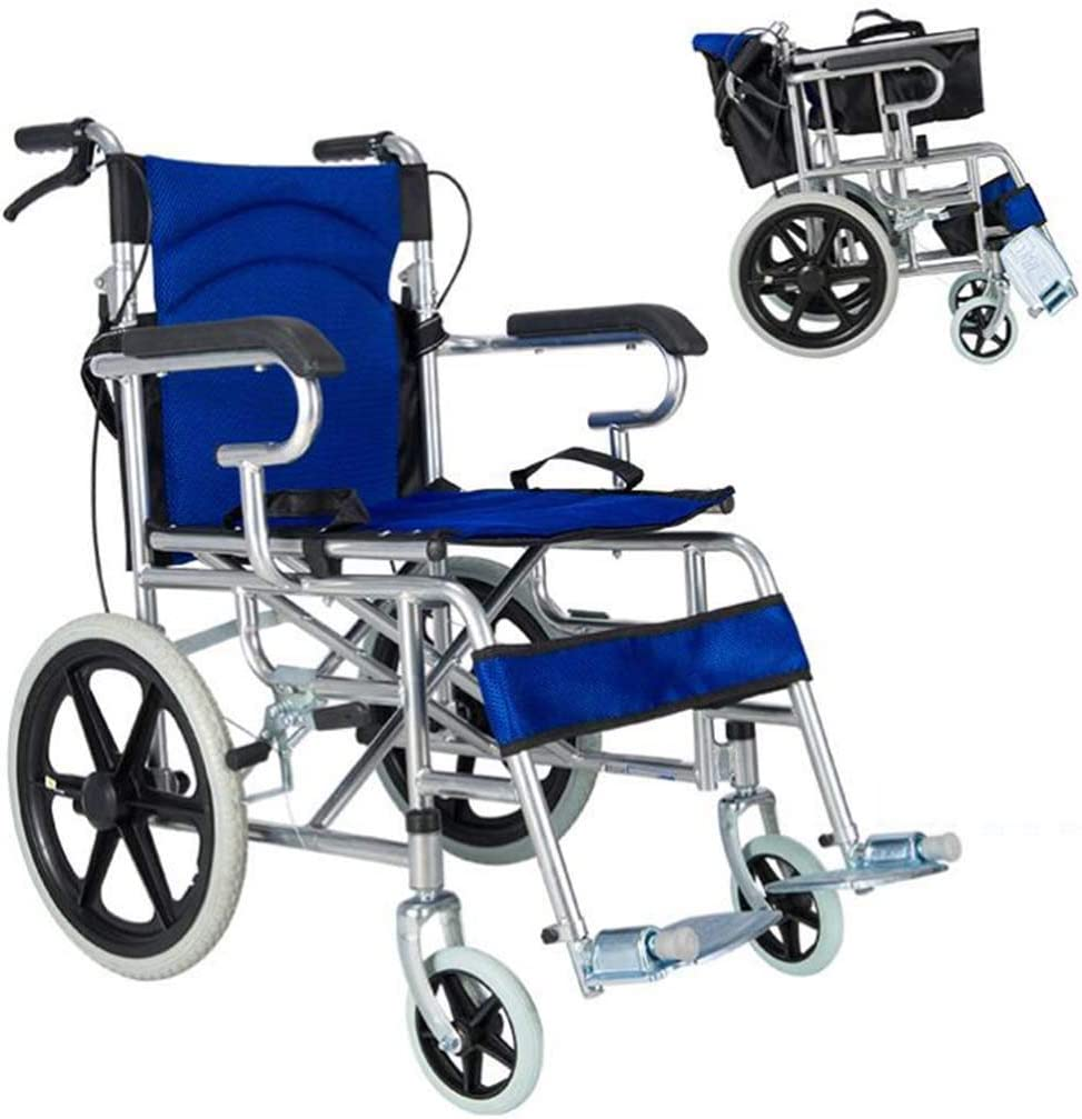 SUNBJ Camarero Plegable Silla de Ruedas de la Carretilla Vespa discapacitados Viejo portátil Ligero Doble Freno no Inflable Macizo La Carga máxima de 100 kg