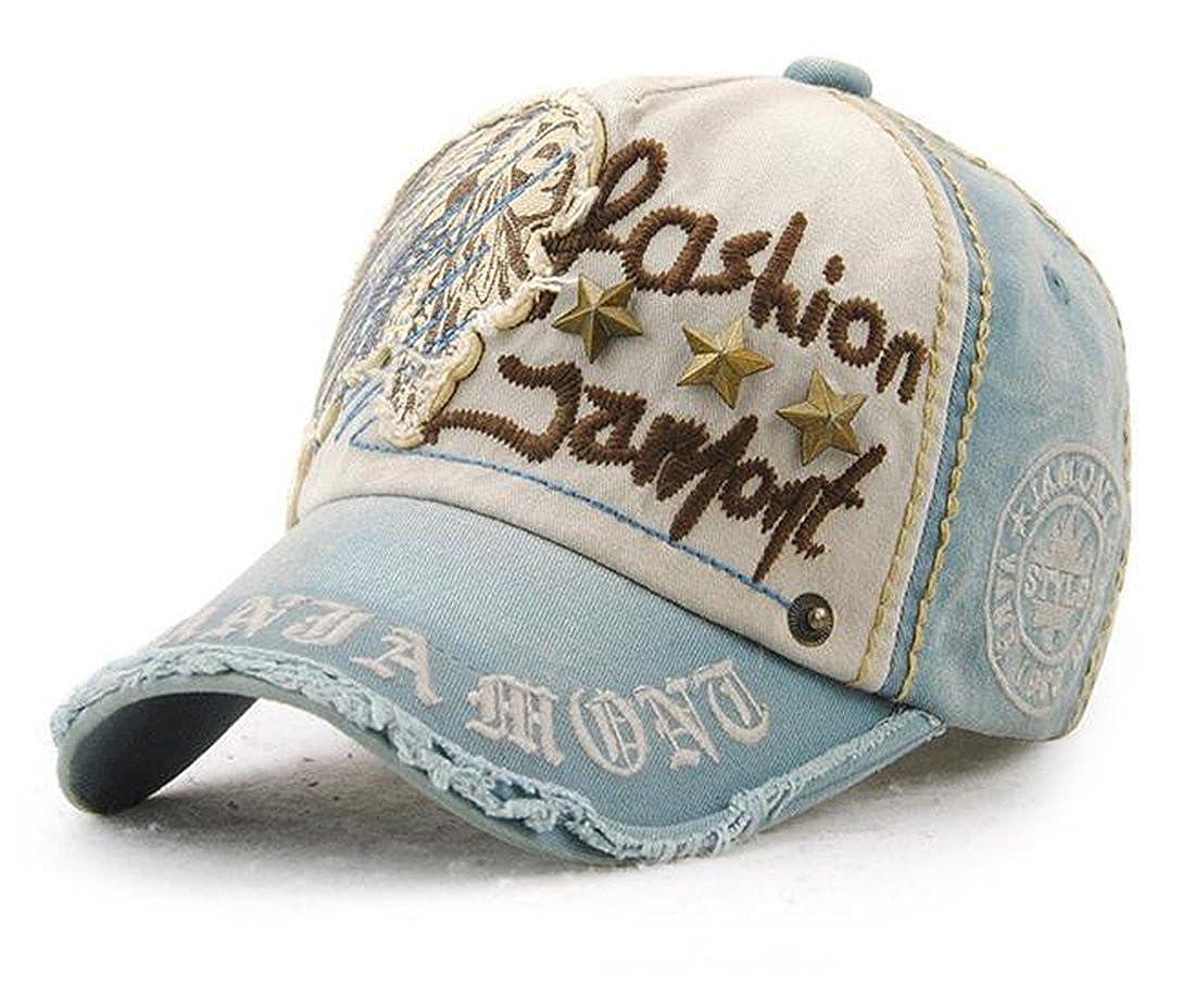 Tmrow リベットの刺繍の野球帽を ファッションのカウボーイハットをピークに、キャップ  デニムブルー B07CZK6NYD